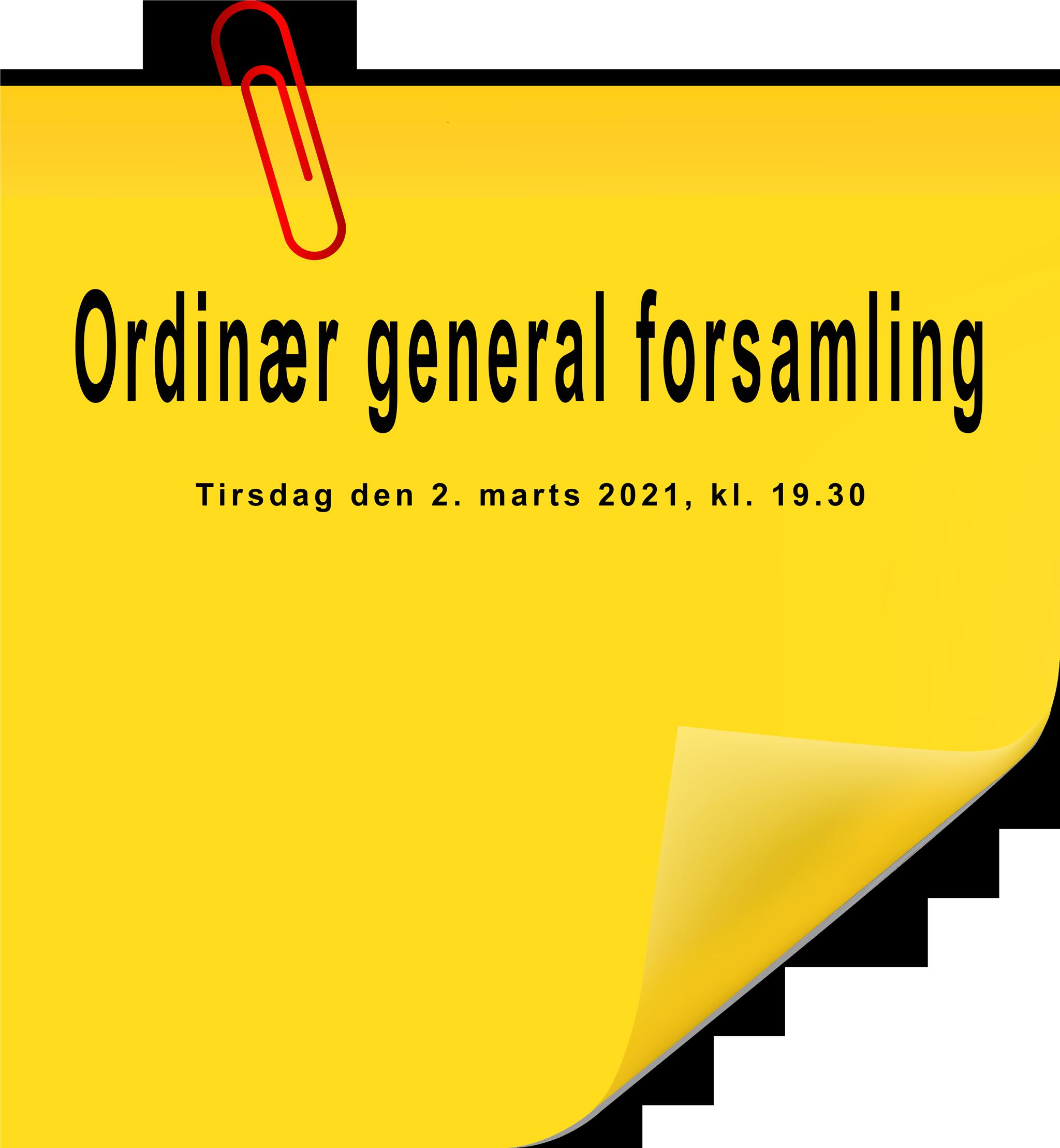Der indkaldes til ordinær generalforsamling tirsdag den 2. marts 2021